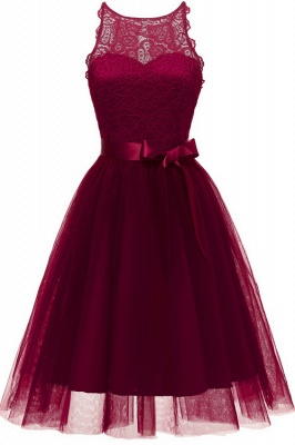 Burgundy Sleeveless Lace Bowknot Christmas Party Dress SD1030