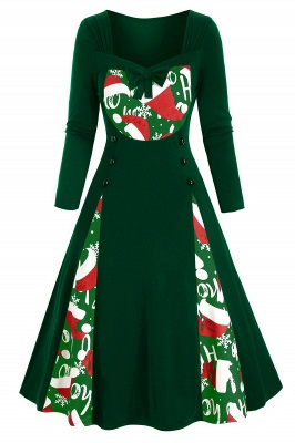 Long Sleeve Green Printe Christmas Party Dress SD1149_1