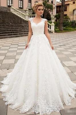 Boho A-Line Tulle Wedding Dress Sleeveless Lace Appliques Bridal Gowns with Sweep Train