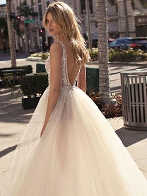 Boho A-Line Tulle Wedding Dress Sexy Slit V-Neck Bedaings Bridal Gowns On Sale_2