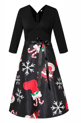 Charming Christmas Dress V-Neck Print Party Gown SD1004_6