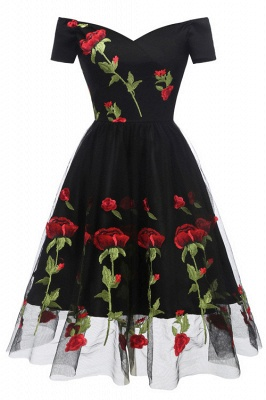 Black Off-the-Shoulder Flower Printed Dress SD1024