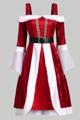 Long Sleeves Red Christmas Dress SD1005_4