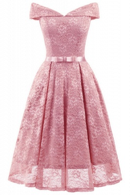 Pink Lace Off-the-Shoulder Christmas Party Dress SD1022_2