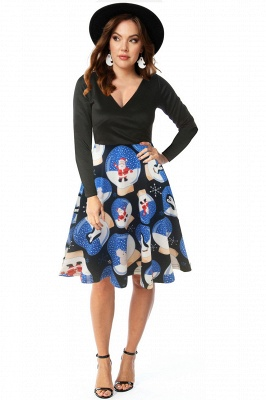 Long Sleeve Printed Skirt Christmas Party Dress SD1014_7