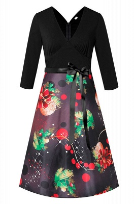Charming Christmas Dress V-Neck Print Party Gown SD1004_4