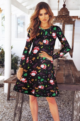 Fashion Long Sleeve Printed XMAS Party Dress SD1017_6
