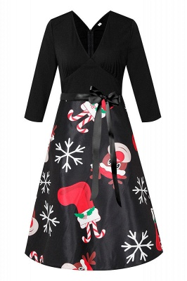 Charming Christmas Dress V-Neck Print Party Gown SD1004_2