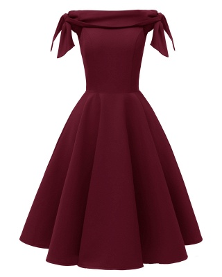 Burgundy Off-the-Shoulder Short Mini Party Dress SD1027_3