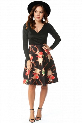 Long Sleeve Printed Skirt Christmas Party Dress SD1014_8