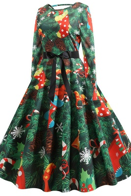 Fashion Long Sleeve Green Christmas Party Dress Printed SD1031_2