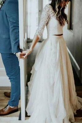 Two Piece Tulle Appliques Wedding Dress 3/4 Sleeves Bridal Gowns with Train_2