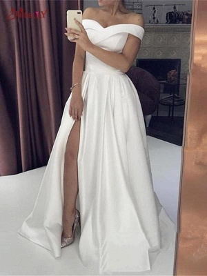 Sexy A-Line Satin Wedding Dress Off-Shoulder Sleeveless Slit Bridal Gowns Online_2