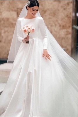 Simple A-Line Satin Wedding Dress White Jewel Bridal Gowns with Long Sleeves On Sale