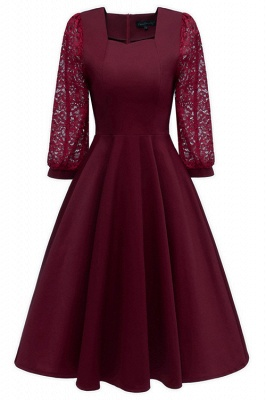 Burgundy Long Sleeve Lace Short Christmas Party Dress SD1029