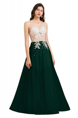 Round Neck Lace Appliques Long Evening Prom Dress_4