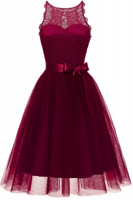 Burgundy Sleeveless Lace Bowknot Christmas Party Dress SD1030_2