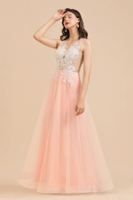 Round Neck Lace Appliques Long Evening Prom Dress_10