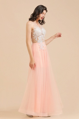 Round Neck Lace Appliques Long Evening Prom Dress_9