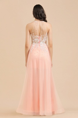 Round Neck Lace Appliques Long Evening Prom Dress_8
