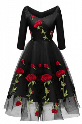 Long Sleeve Black Flower Printed Party Dress SD1023