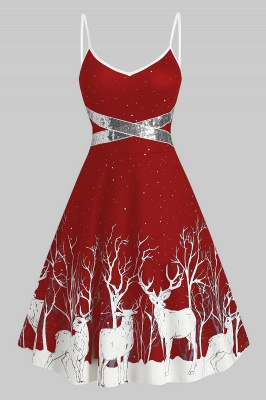 Sexy Spghetti Strap Christmas Dress Deer Print SD1009_8