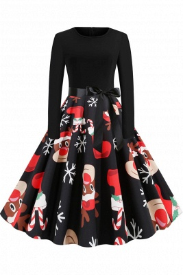 Santa Clause Printed Skirt Christmas Dress SD1010_1