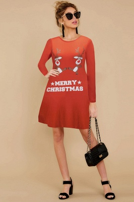 Deer Printed Black Long Sleeve Christmas Dress SD1016_15