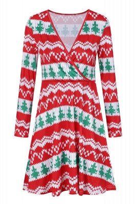 Long Sleeve V-Neck Christmas Dress SD1013