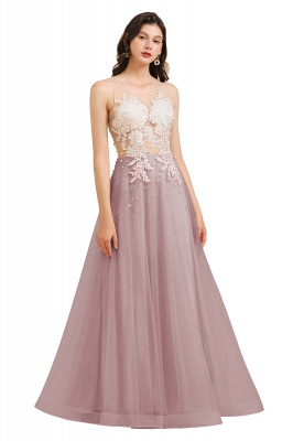 Round Neck Lace Appliques Long Evening Prom Dress_2
