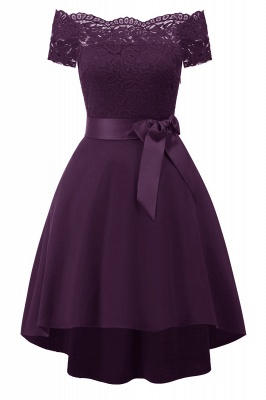 Off-the-Shoulder Burgundy Lace Christmas Dress SD1020_6