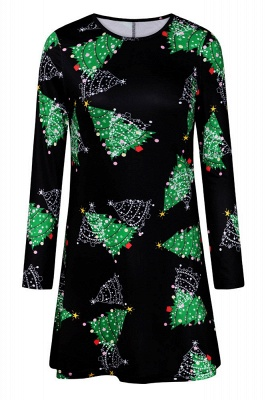 Fashion Long Sleeve Printed XMAS Party Dress SD1017_3