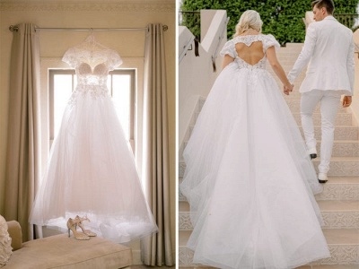 Elegant Short Sleeves White Long Wedding Dress With Lace Appliques_4