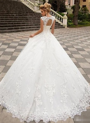 Boho A-Line Tulle Wedding Dress Sleeveless Lace Appliques Bridal Gowns with Sweep Train_2