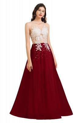 Round Neck Lace Appliques Long Evening Prom Dress_3