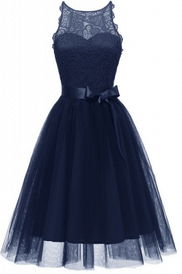 Burgundy Sleeveless Lace Bowknot Christmas Party Dress SD1030_6