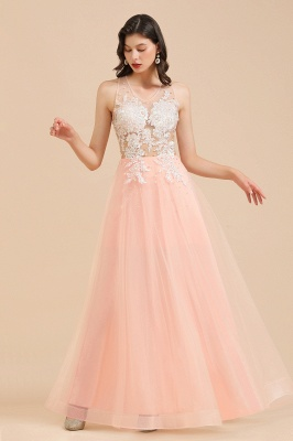 Round Neck Lace Appliques Long Evening Prom Dress_6