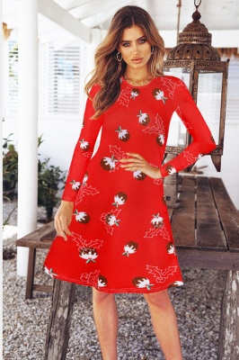 Fashion Long Sleeve Printed XMAS Party Dress SD1017_7
