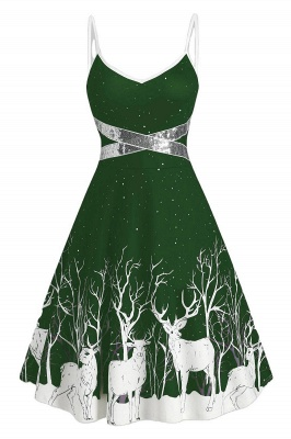 Sexy Spghetti Strap Christmas Dress Deer Print SD1009_7