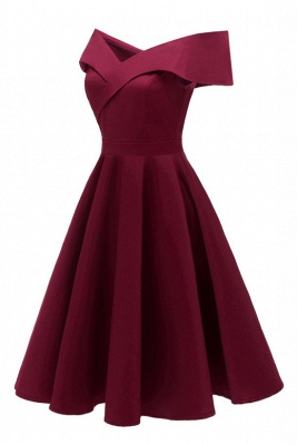 Chic Burgundy Off-the-Shoulder Short Christmas Party Dress_5