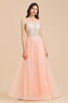Round Neck Lace Appliques Long Evening Prom Dress_7