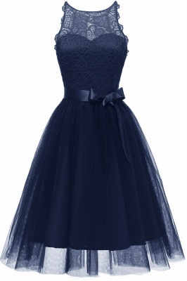 Burgundy Sleeveless Lace Bowknot Christmas Party Dress SD1030_3