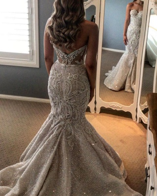 Gorgeous Strapless Mermaid Wedding Dress Sweetheart Tulle Lace Overskirt Bridal Gowns with Beadings_2