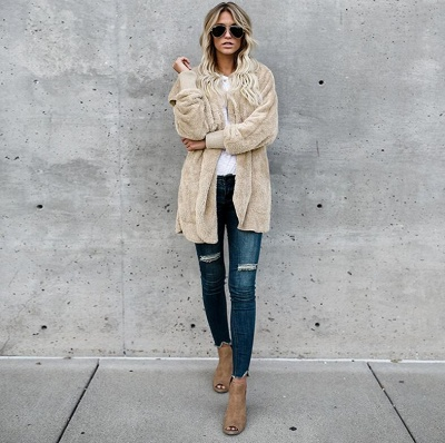 Fashion Solid Color Long Sleeve Outerwear_2