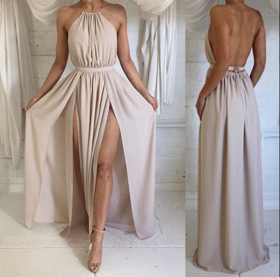 Halter Front Spilt Backless Evening Gowns Sexy 2020 Summer Party Dresses_3