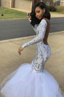 Mermaid Sliver Appliques Tulle Prom Dresses   Sexy Backless Long Sleeve Evening Dresses BC4054_2