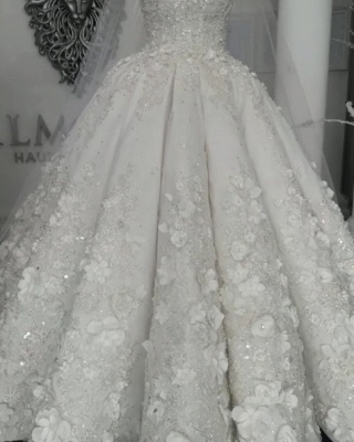 2020 Luxury Sleeveless Crystal Wedding Dresses | Sheer Tulle Flowers Bridal Gowns with Beading BC0708_5