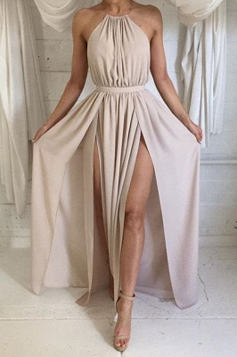 Halter Front Spilt Backless Evening Gowns Sexy 2020 Summer Party Dresses_1