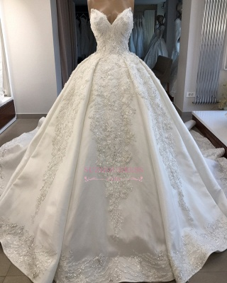 Ball-Gown Sweetheart Appliques Brilliant Sleeveless Wedding Dresses_4
