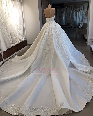 Ball-Gown Sweetheart Appliques Brilliant Sleeveless Wedding Dresses_3